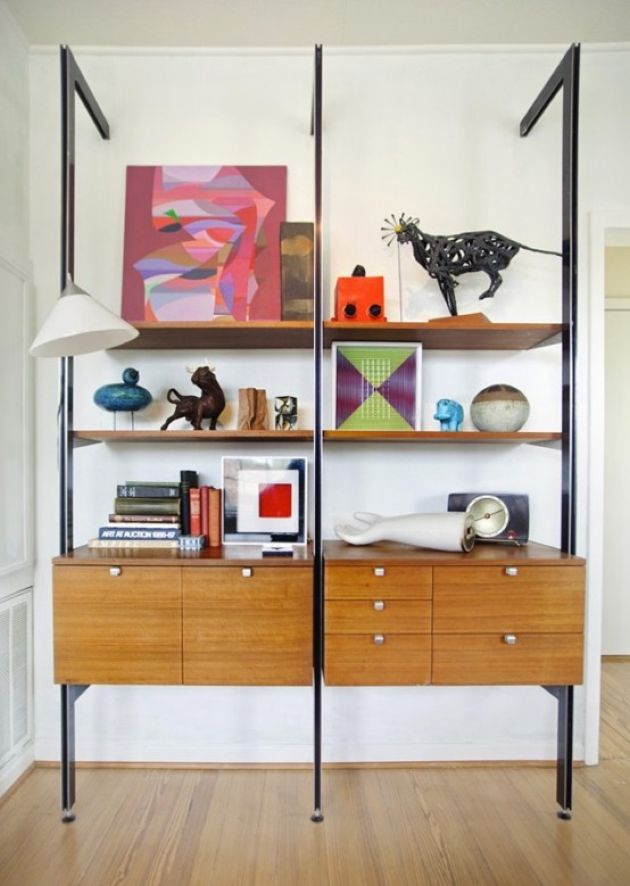 Bold Mid-Century Modern Wall Unit With Dark Metal Touches And Cabinets
