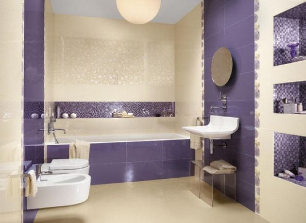 Bold Modern Bathroom In Purple And Neutrals With Smaller And Larger Scale Tiles
