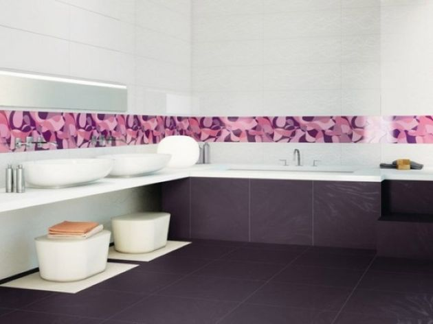 Bright Contemporary Bathroom With A Deep Purple Tile Floor