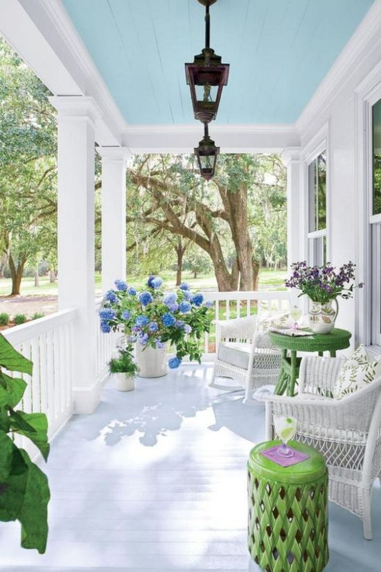 Bright Summer Porch Done In White With Touches Of Juicy Green