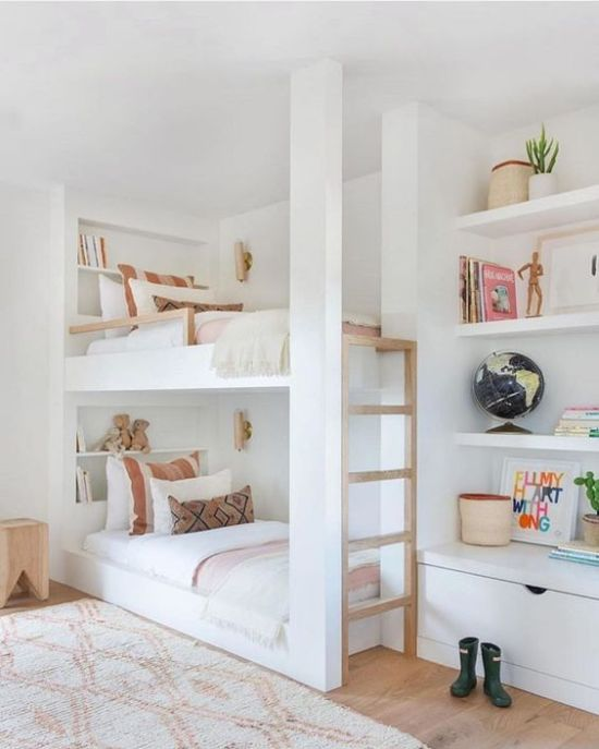 Built-In Kids Bunk Beds With Built-In Shelves And A Ladder
