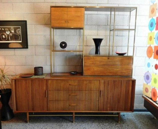 Catchy Mid-Century Modern Wall Unit With Cabinets And Airy Open Shelves