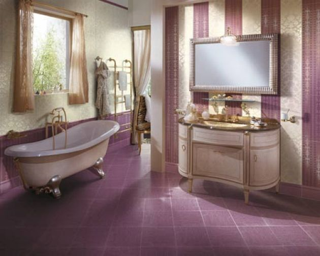 Cheerful Retro-Inspired Purple And Neutral Bathroom With A Striped Wall