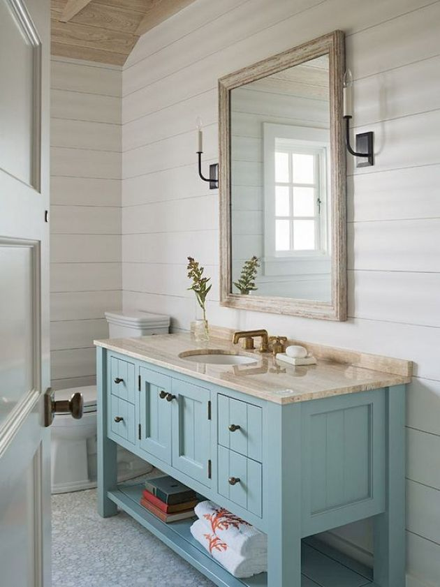 Coastal-Inspired Bathroom With A Light Blue Vanity