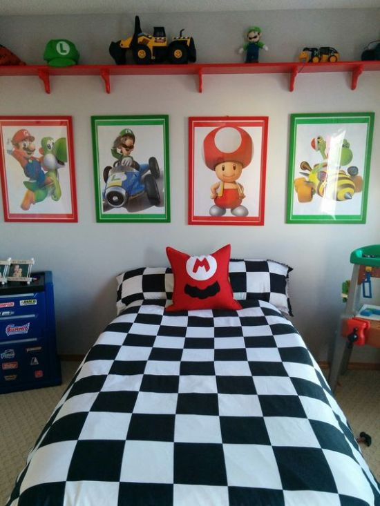 Colorful Mario Brothers Themed Kid's Bedroom