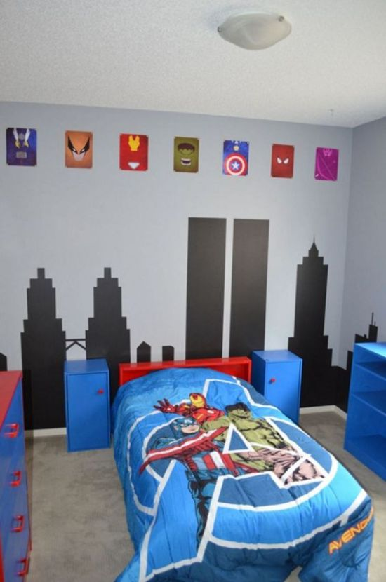 Colorful Marvel Super Hero Themed Kids' Room
