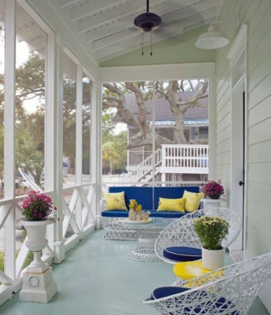 Colorful Summer Porch In Bright Yellow And Blue