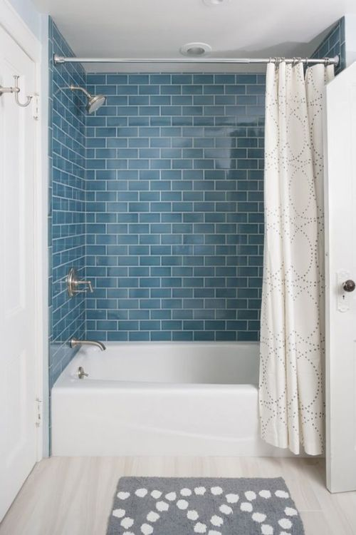 Comfy Modern Bathroom With Blue Subway Tiles