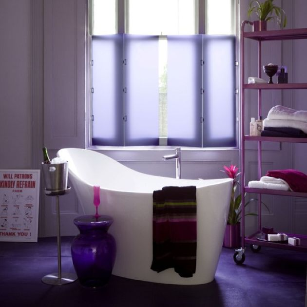 Contemporary Bathroom With A Purple Tile Floor