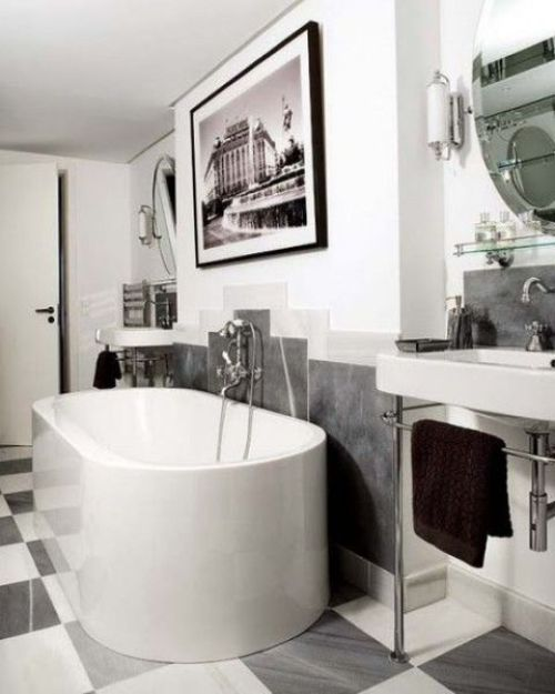 Contemporary Monochromatic Parisian Bathroom With A Statement Artwork