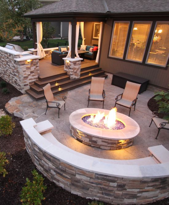 Contemporary Patio Design Ideas By Deck + Firepit