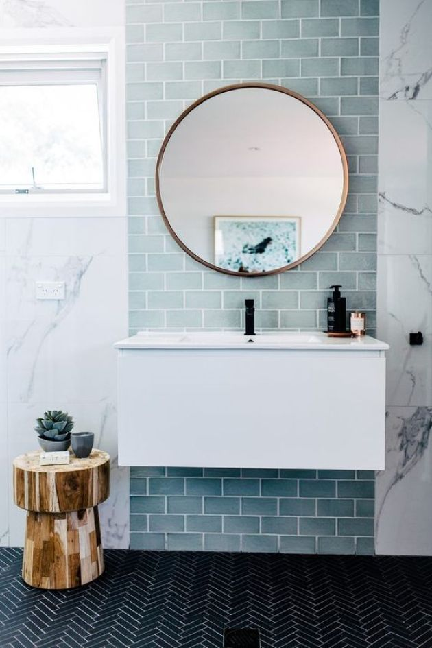 Contemporary Sea Inspired Bathroom With Light Blue Tiles