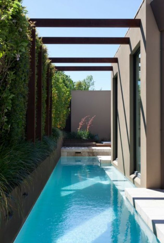 Cool Narrow Pool In Small Backyard