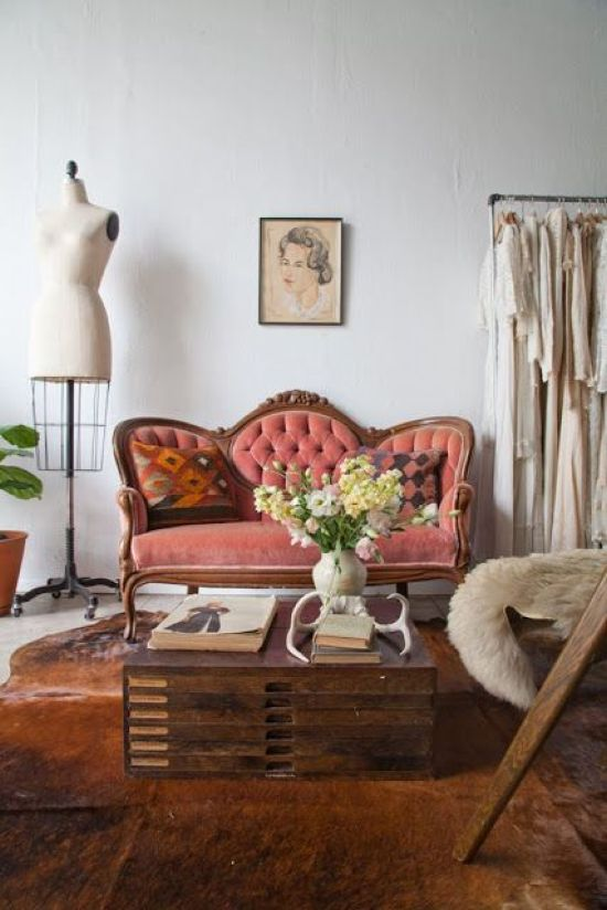 Coral Loveseat With Wooden Framing And Tufted Upholstery For Parisian Interior
