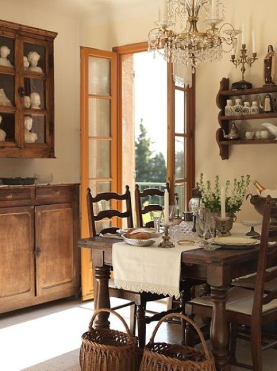 Cozy Farmhouse Dining Nook With A Wooden Dining Set And Baskets