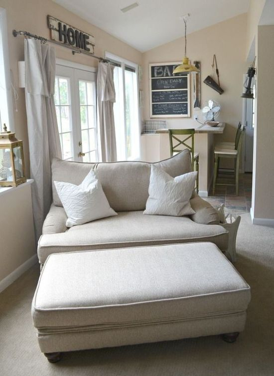 Cozy Neutral Loveseat And A Matching Ottoman For Modern Farmhouse Living Room