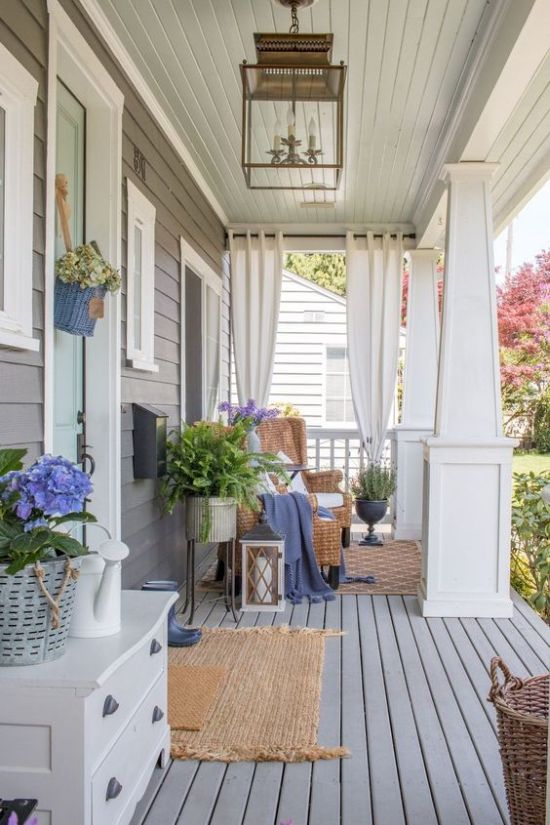Cozy Summer Porch With Wicker Furniture