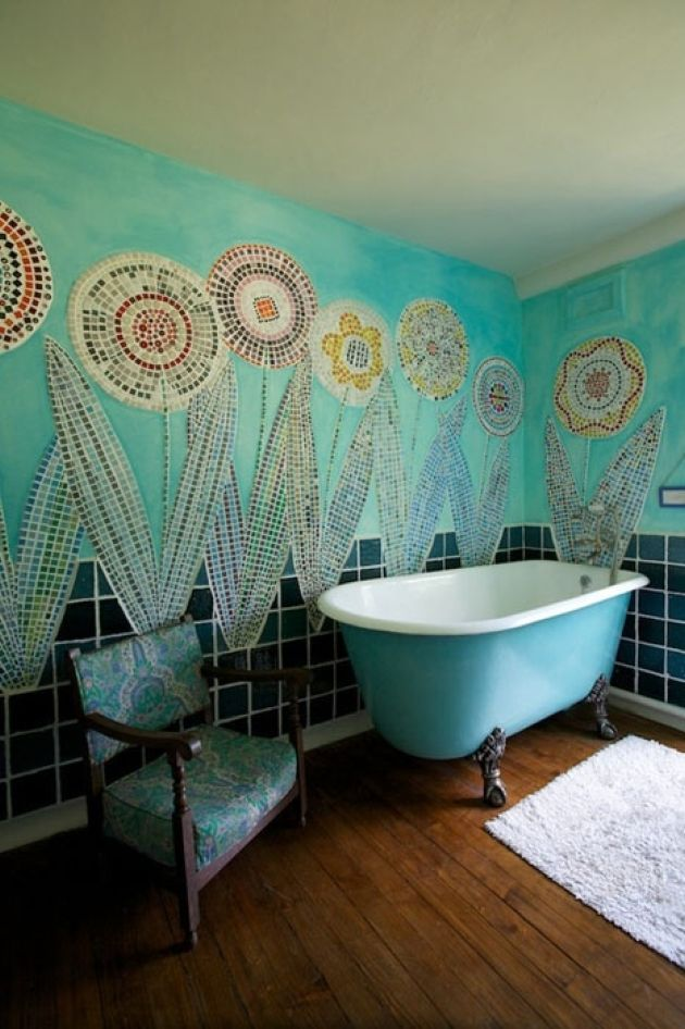 Creative Bathroom With Turquoise Walls With Mosaic Florals