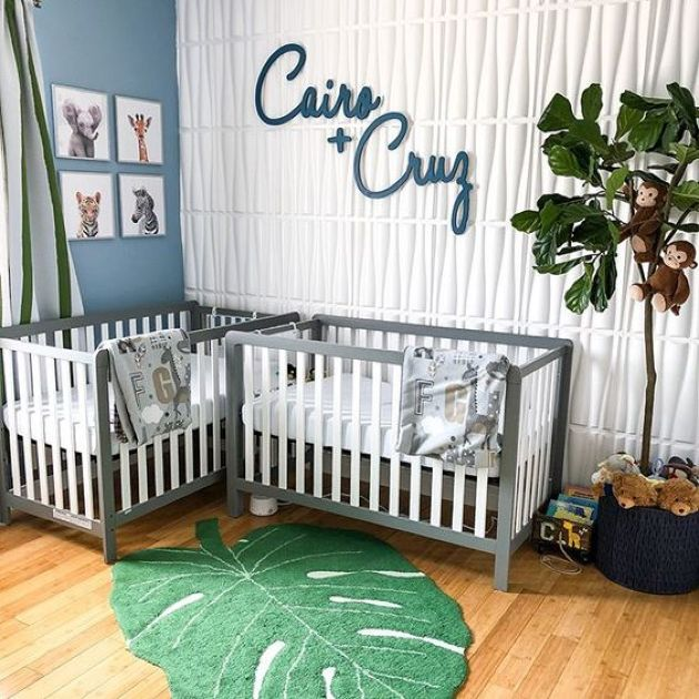 Cute Nursery Décor Idea With Two Names Put On The Wall