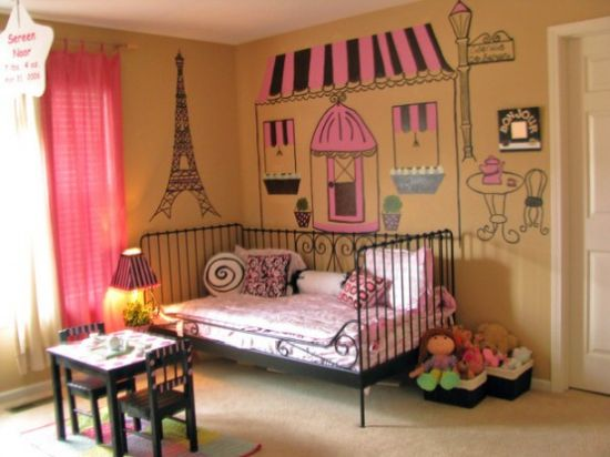 Cute Paris-Themed Kid's Room With A Black Forged Bed