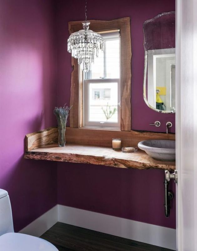 Eclectic Bathroom With Purple Walls And Wooden Vanity With A Living Edge