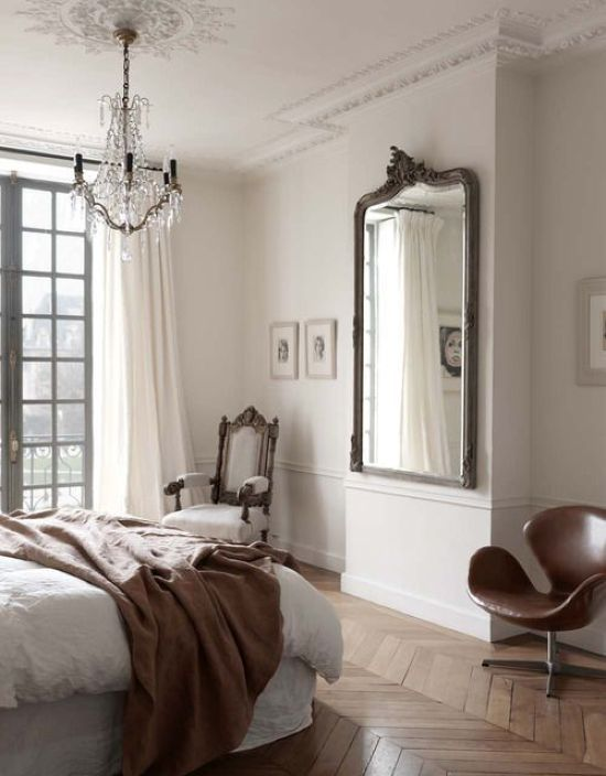 Elegant Parisian Bedroom With A Herringbone Floor
