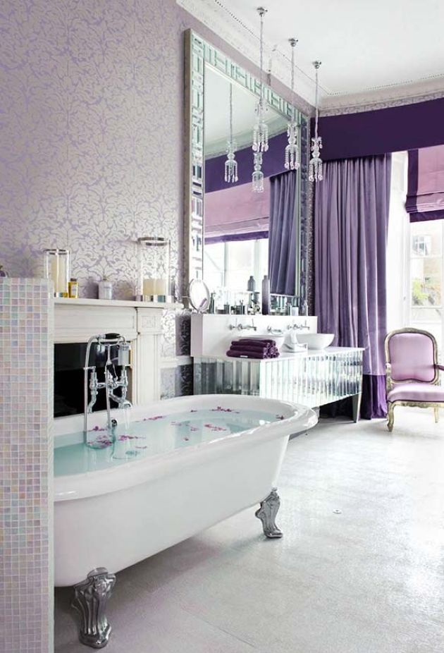 Exquisite Bathroom In Pastels And Neutrals With Purple And Lavender Curtains