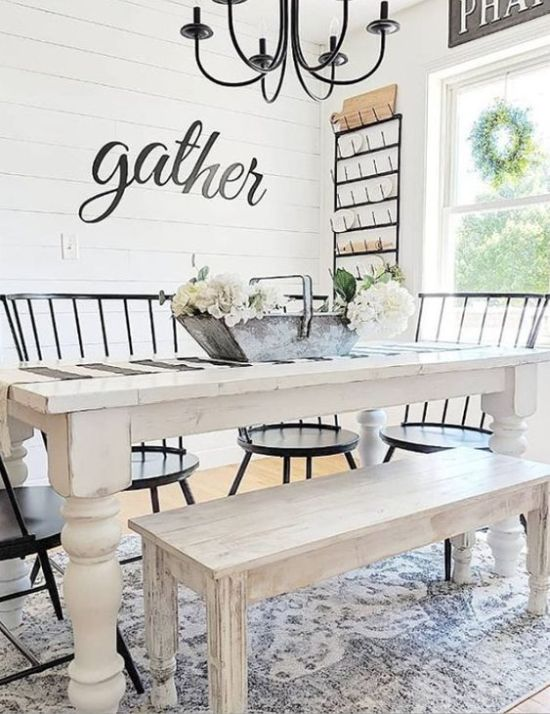 Farmhouse Dining Room With A White Dining Set And Black Chairs Plus Black Chandelier
