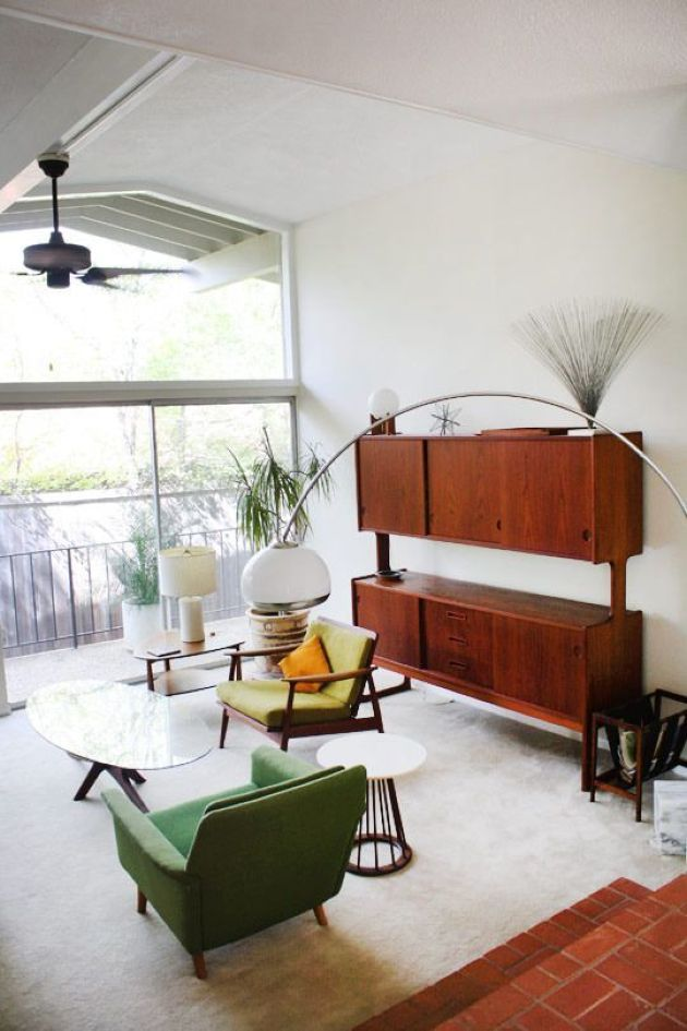 Fully Closed Mid-Century Modern Storage Unit With A Couple Of Shelves