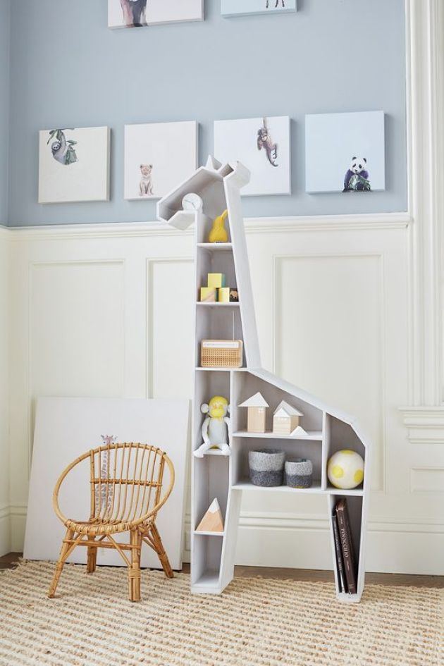 Giraffe Shelving Unit Functions Both As A Storage Piece And A Toy