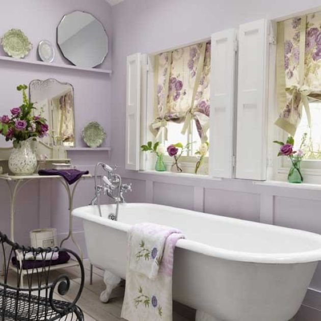 Girlish Bathroom With Lavender Walls And White Vintage Bathtub