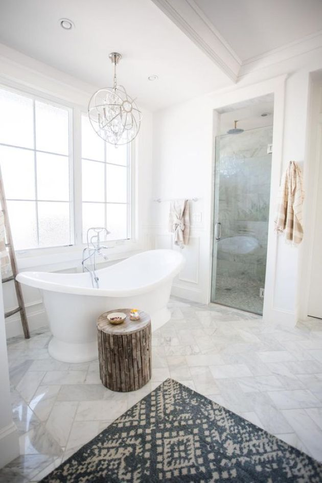 Gorgeous Transitional Space With Marble Tiles And Wooden Stool