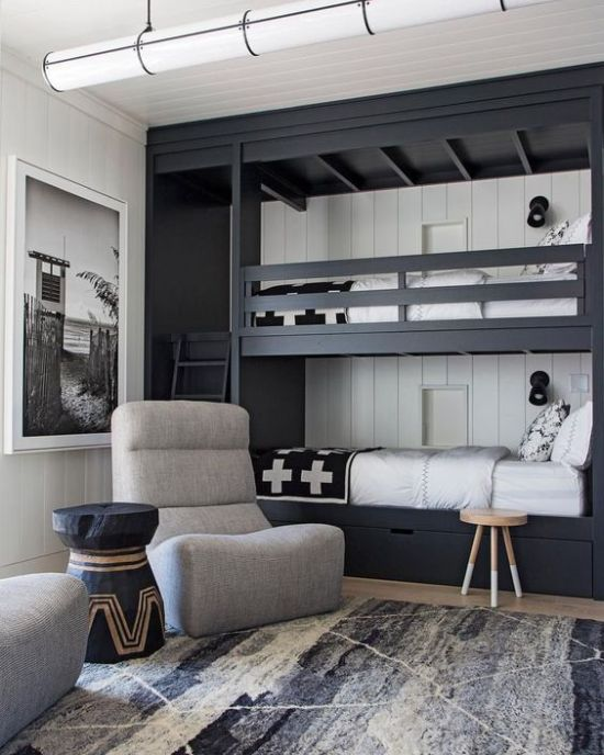 Graphite Grey Bunk Beds With A Ladder Plus Wall Lamps And White Shiplap