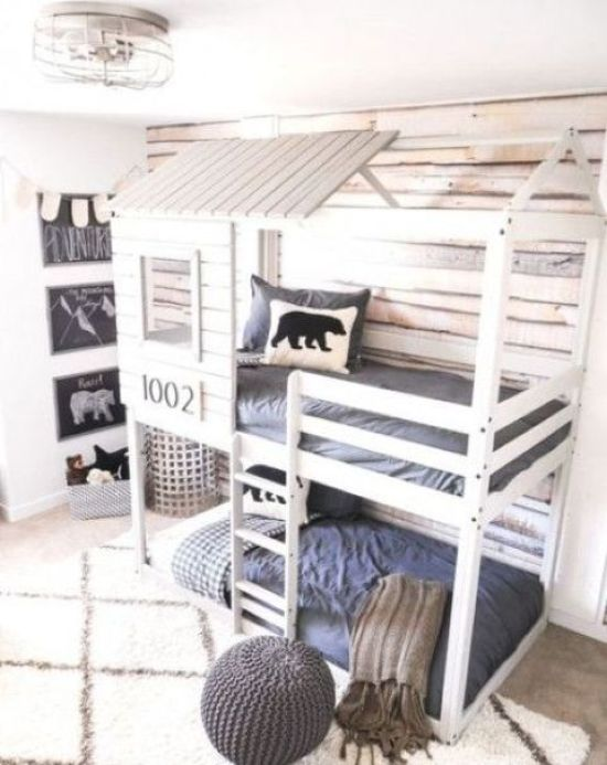House-Shaped Kids Bunk Bed Unit For Two Built-In Lights And Ladder
