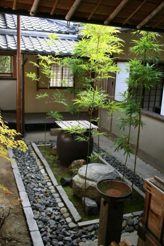 Japanese Courtyard With Pebbles Plus Rocks And Moss