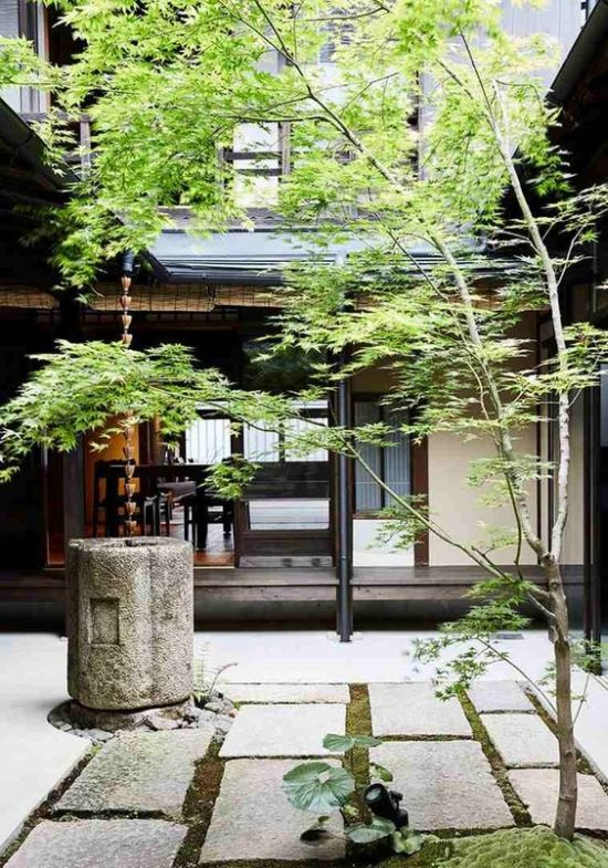 Japanese Courtyard With Stone Tiles Plus Greenery And Stone Bowl