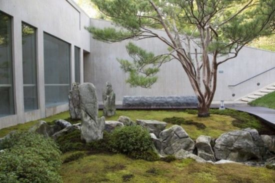 Japanese Garden With Moss Plus Greenery And Rocks
