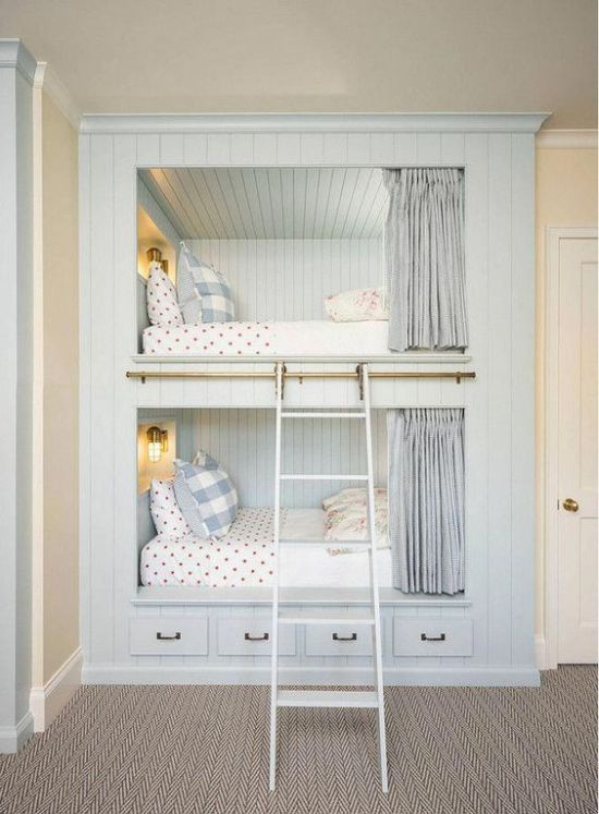 Kids Bunk Bed Unit In Pale Blue With Wall Lamps Plus Ladder And Curtains Plus Storage Drawers