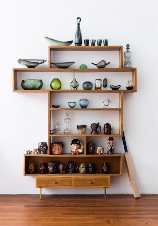 Laconic And Catchy Wall Unit With Open Shelves Plus Box Shelves And Drawers