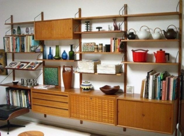 Large Wall-Mounted Storage Unit With Cabinets Plus Drawers And Shelves