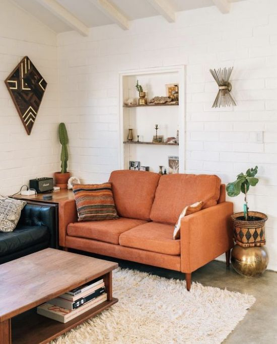 Lovely Rust-Colored Loveseat For A Mid-Century Modern Living Room