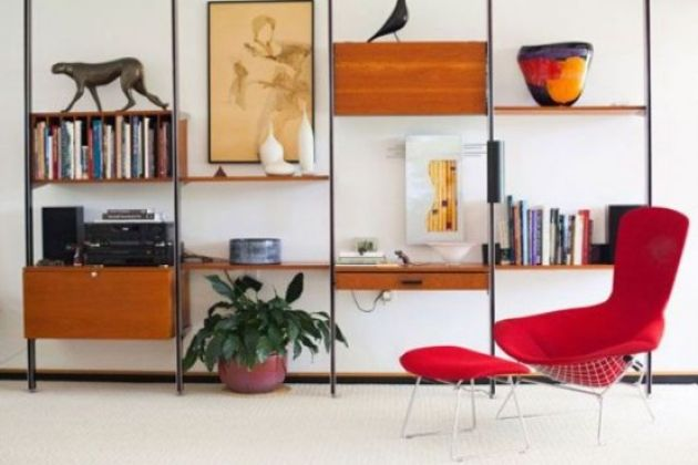 Mid-Century Modern Wall Unit With Drawers And Cabinets