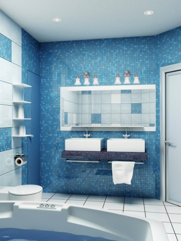 Minimalist Blue Mosaic Tile Bathroom With A Stone Vanity