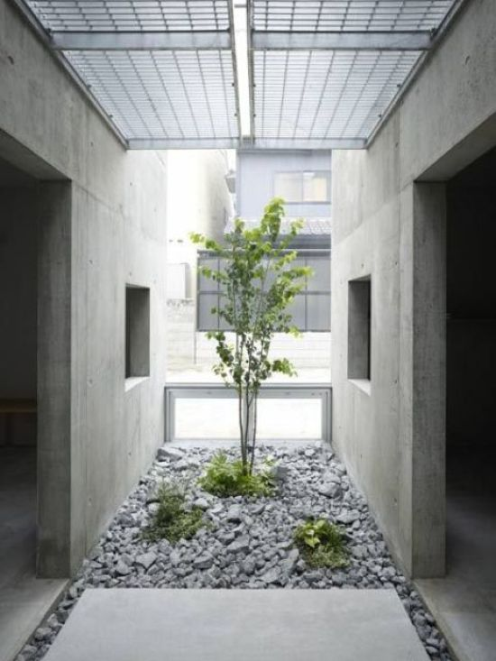 Minimalist Japanese Courtyard With Pebbles