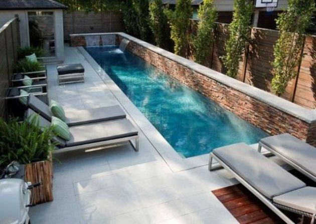 Modern Small Backyard With A Narrow Pool With Waterfall