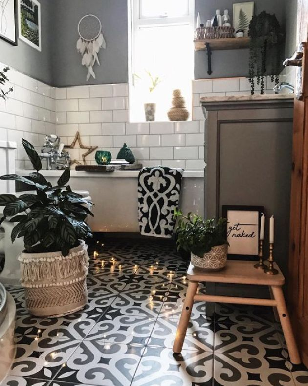 Monochromatic Boho Bathroom With Mosaic Tiles