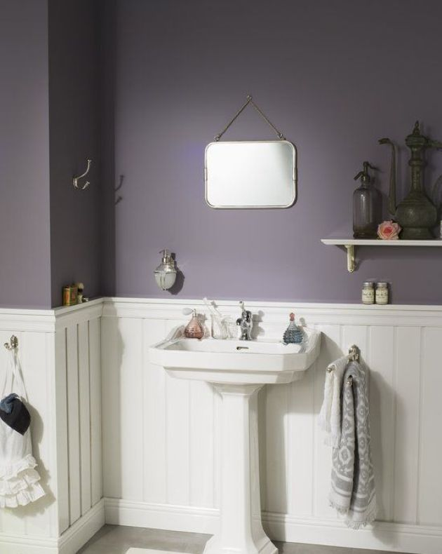 Moody Modern Farmhouse Bathroom With Purple Walls