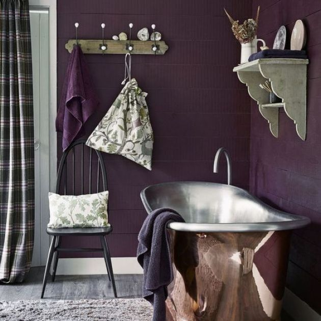 Moody Rustic Bathroom Done In Deep Purple And With A Metal Tub