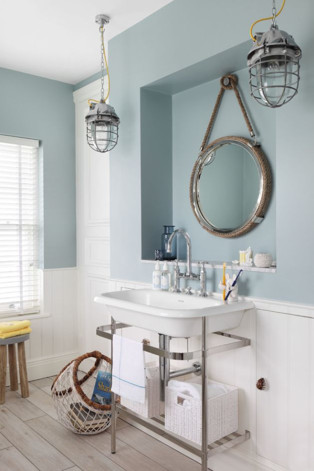 Nautical Bathroom With A Slate Blue Half Wall And Vintage Sink