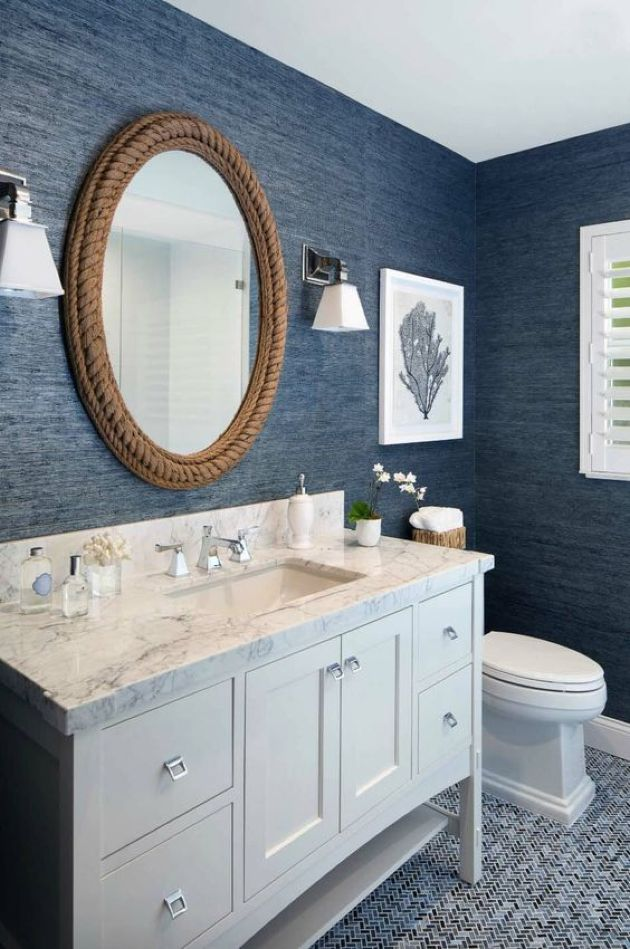 Nautical Bathroom With Navy Textural Wallpaper And Rope Covered Mirror